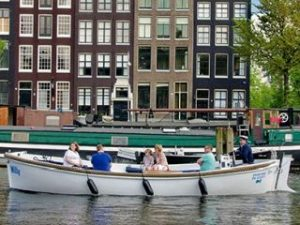 Open Boat Amsterdam Canal Cruise Blue Sky Boat